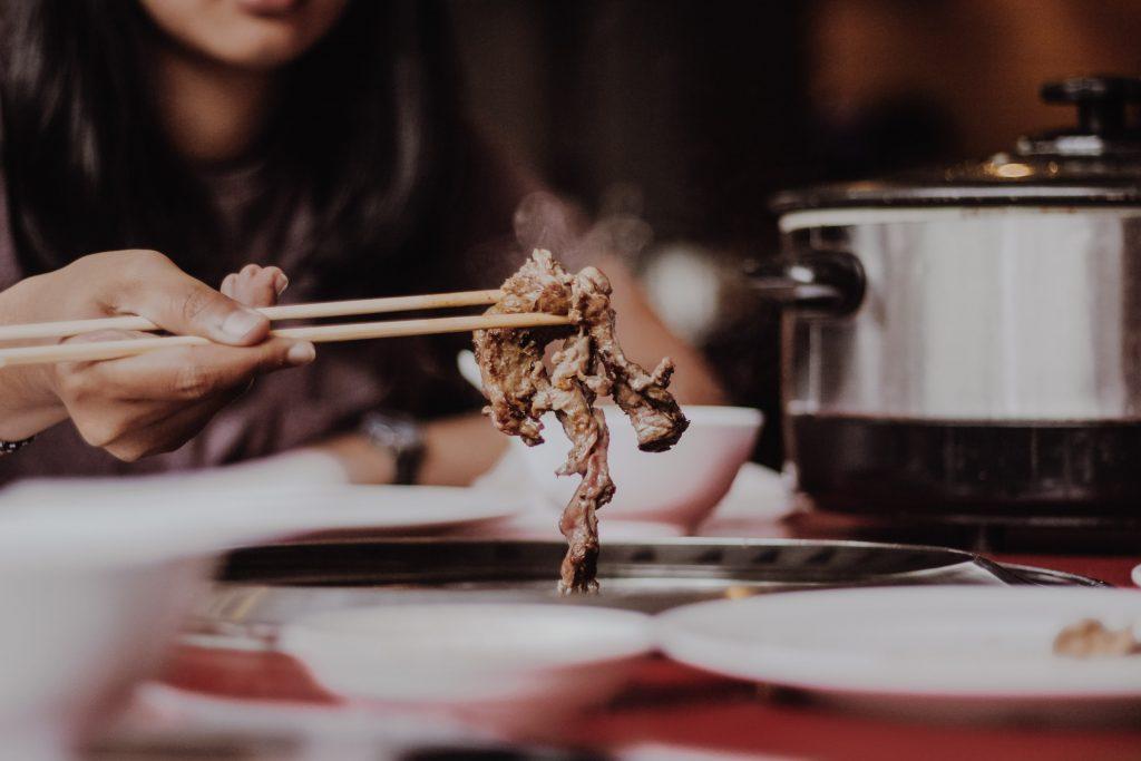 Chopsticks, meat, restaurant