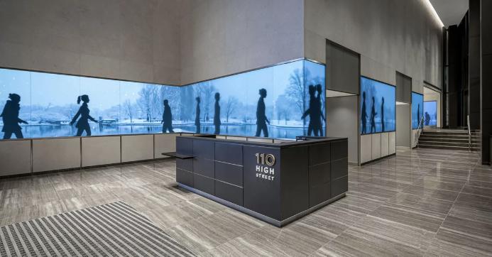 An AV Installation in an Office Lobby